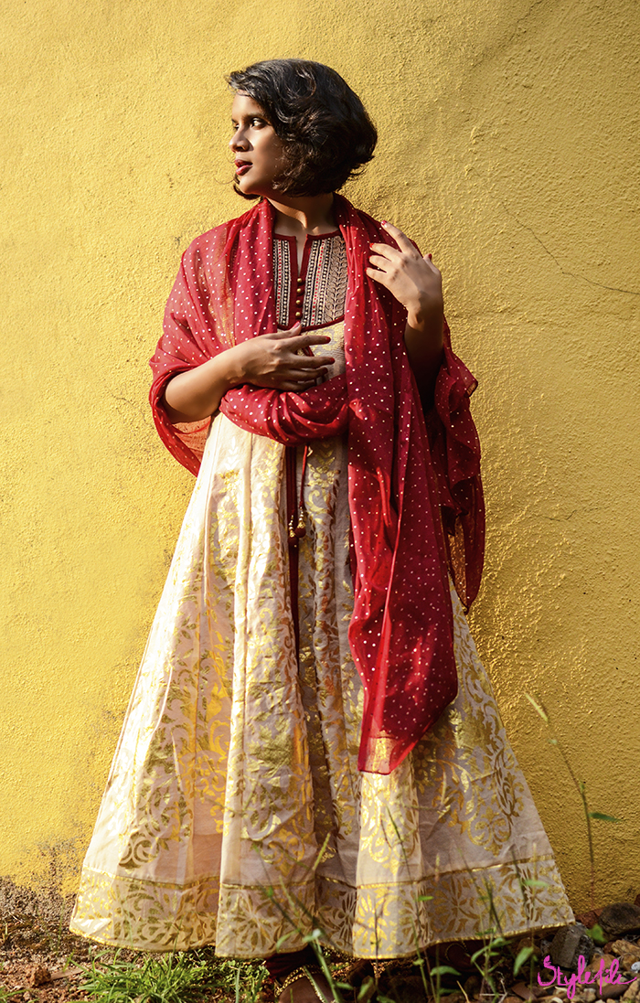 Dayle Pereira, blogger at Style File showcases her personal style in a red and gold tradition Indian ethnic salwar kameez suit with red and gold from Max Fashion India