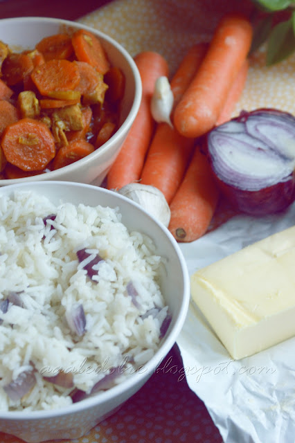 basmati rice and spicy chicken with carrot