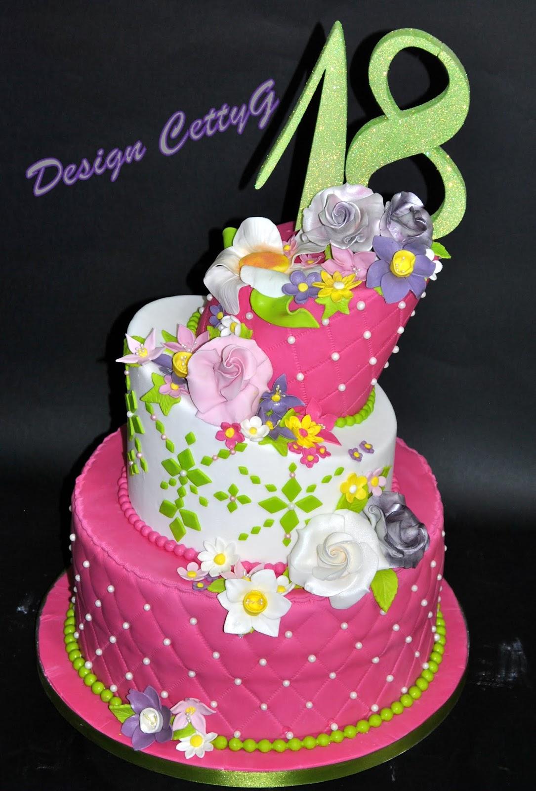 Fabuleux Le torte decorate di Cetty G: 18°Compleanno in fiore. FW57