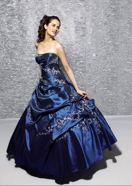 a wedding addict a line dark blue layer tail strapless With dark blue wedding dress
