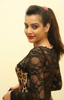 Deeksha Panth in Leoperd Print Leotard Transparent Net Neck at Ee Varsham Saksiga Audio Launch