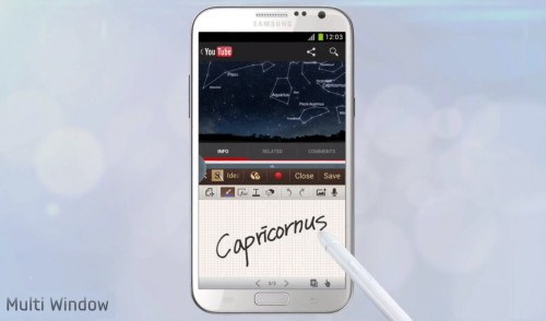 galaxy note 2 feature in video