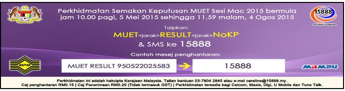 Semak Keputusan MUET Sesi Mac 2015 Online Dan SMS
