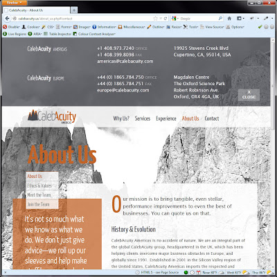 Screen shot of http://calebacuity.us/about_us.php#contact.