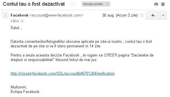 mesaj fals Facebook