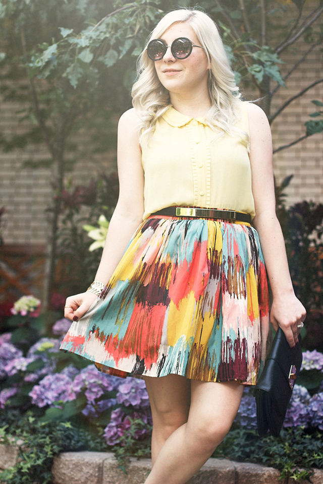 Fun retro inspired outfit with a peter-pan collar blouse and watercolour skirt.
