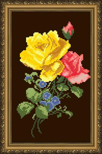 haft krzyżykowy kwiaty polne