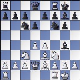 Posición de la partida de ajedrez Ramón Crusi Moré - John Armstrong después de 8. Dd2