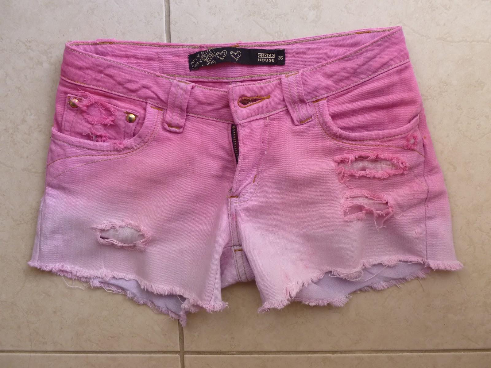 short tie dye colorido em degrade rosa