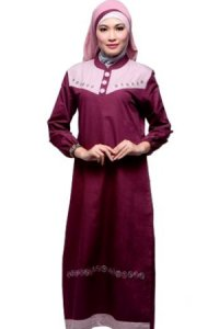Najya Gamis J19 - Merah Anggur (Toko Jilbab dan Busana Muslimah Terbaru)
