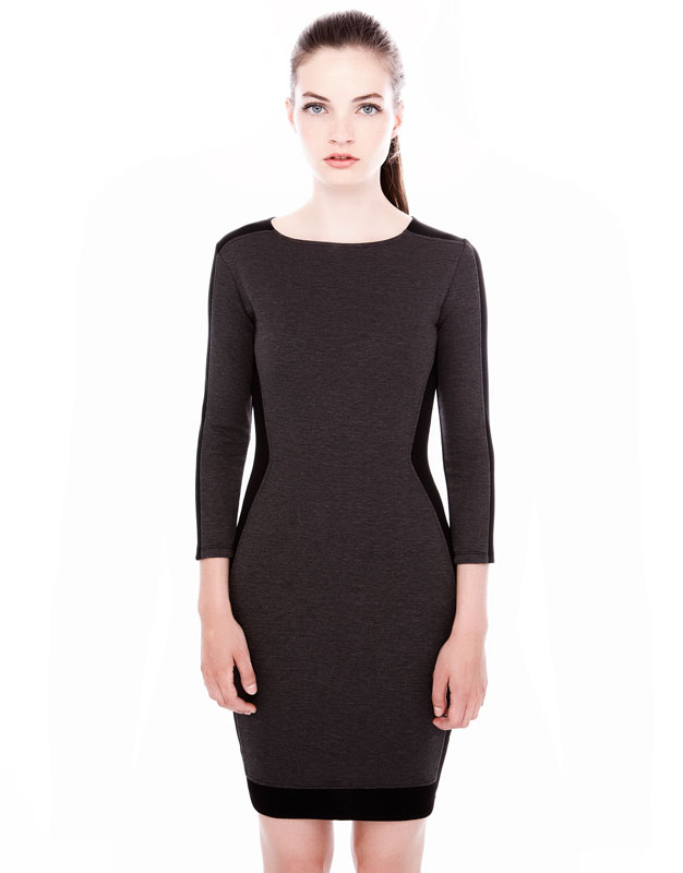 gri siyah dar kesim elbise