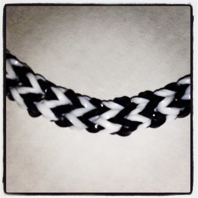 black and white fishtail loom bands