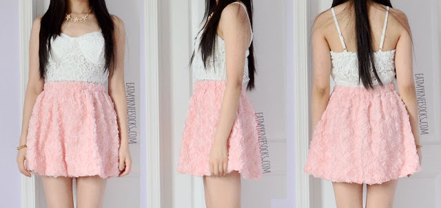 Front, side, and back views of the 3D rose-embellished pastel pink skater skirt from Romwe.
