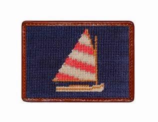 Smathers & Branson rainbow fleet needlepoint card wallet