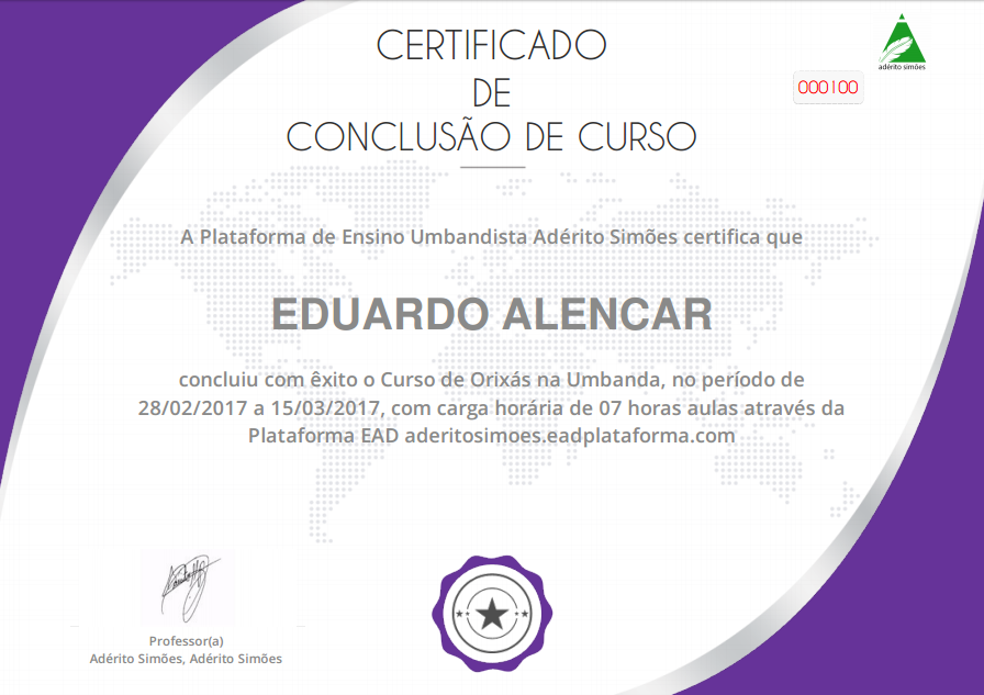 Certificado: Orixás na Umbanda