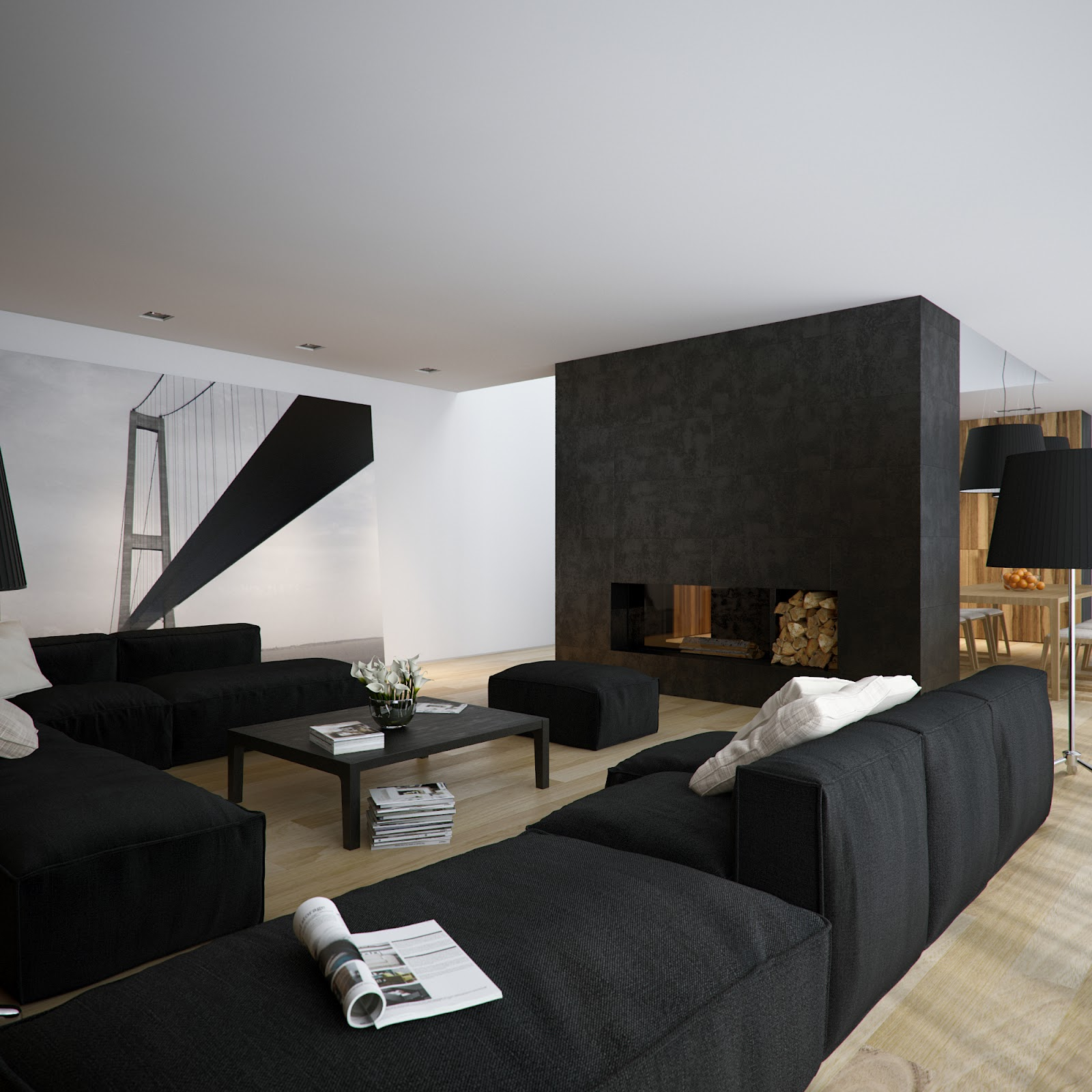 Bedroom paint designs black and white - Having Black And White Loft Area Is Cool Ideas You Only Need To Paint Entire House In White And Mix It Whit Black Accommodations