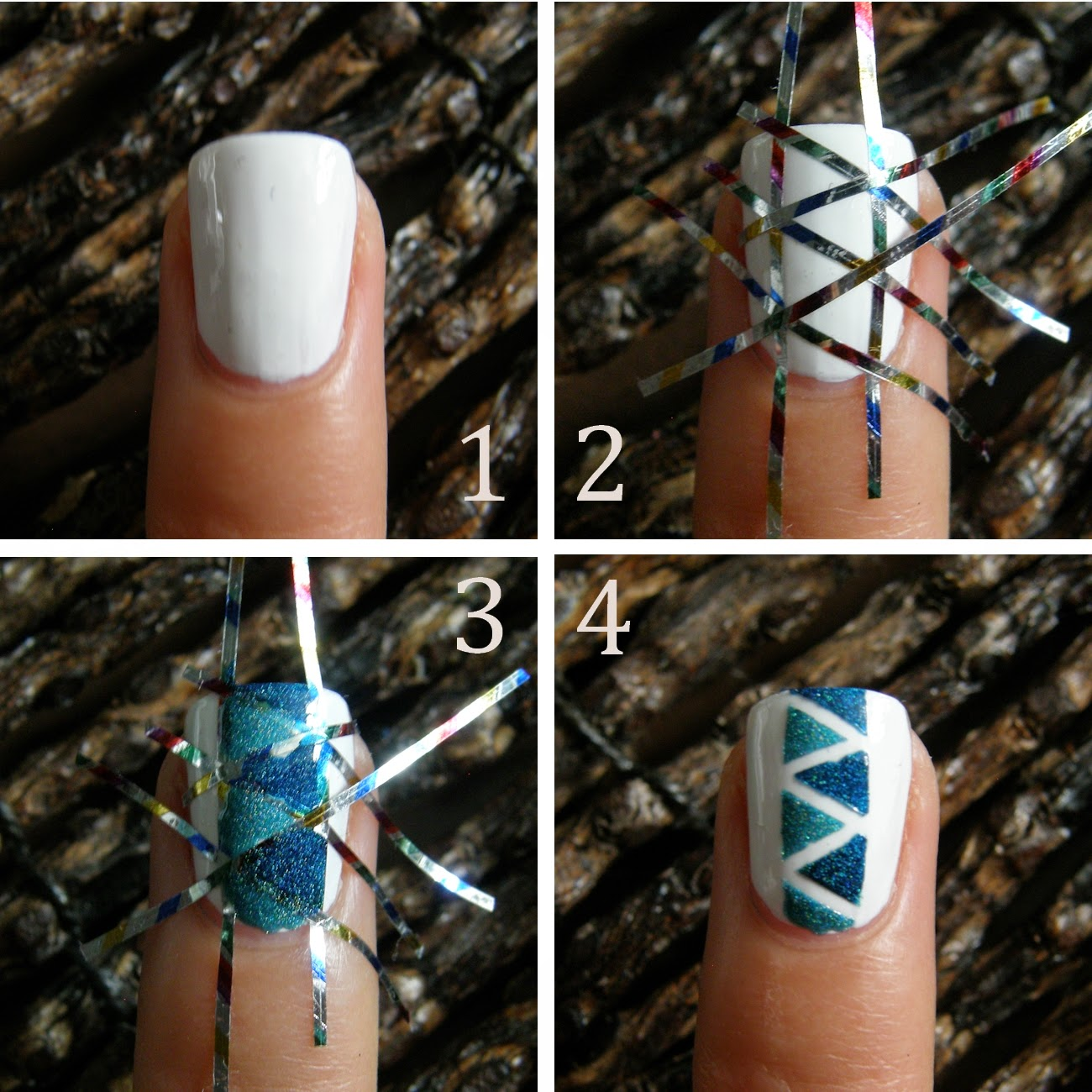 Pop'n Cuticule Tuto Nail art triangle Bleu Teal the End