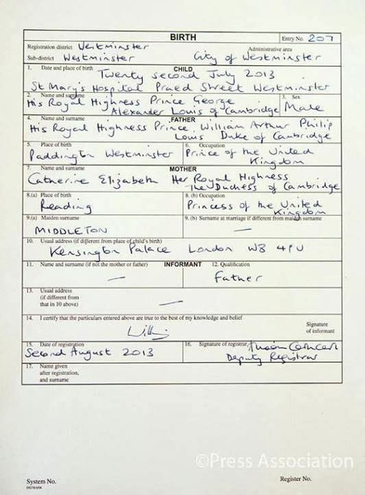 Foro Real: El certificado de nacimiento del Príncipe Jorge