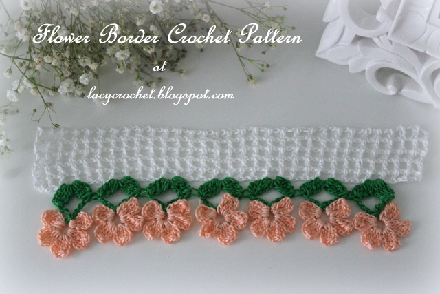 Free Crochet Flower Edging Pattern : Lacy Crochet: Flower Border Crochet Pattern and Tutorial