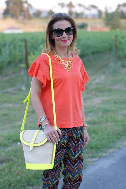 Persunmall neon color straw bag, Miu Miu sunglasses, fashion and cookies