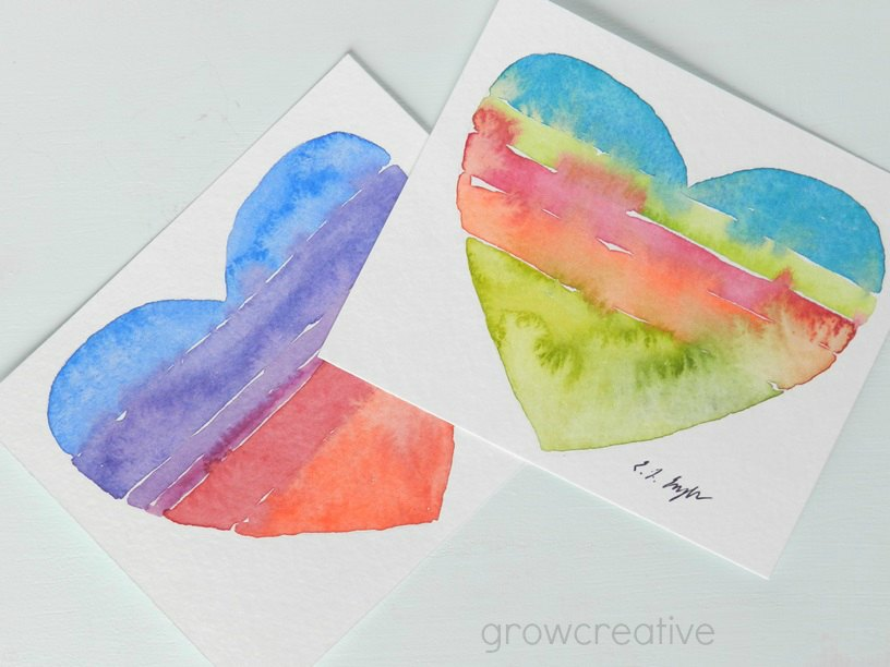 Striped Heart Watercolor Paintings: Grow Creative