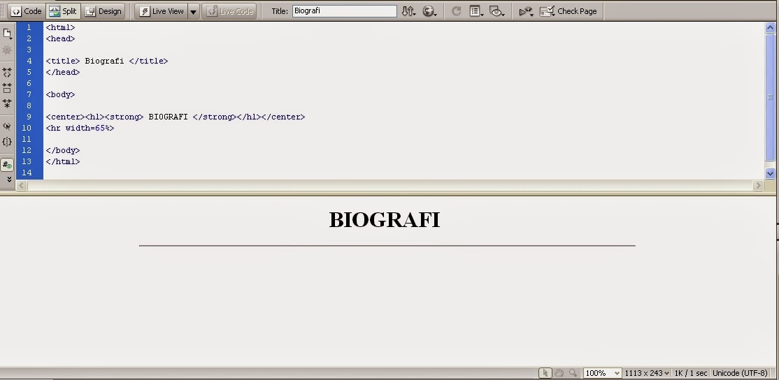 Cara Membuat Biografi Mengunakan Bahasa Pemograman Html