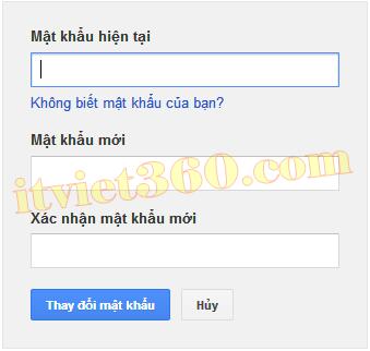 Cách thay đổi mật khẩu (Password) cho Gmail