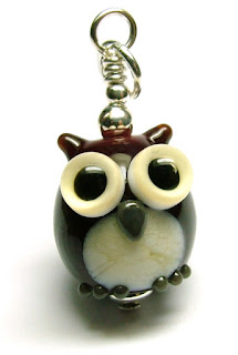 Lampwork glass owl pendant