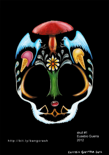 Skull 1, Eusebio Guerra, 2012, Acrylic on wood panel