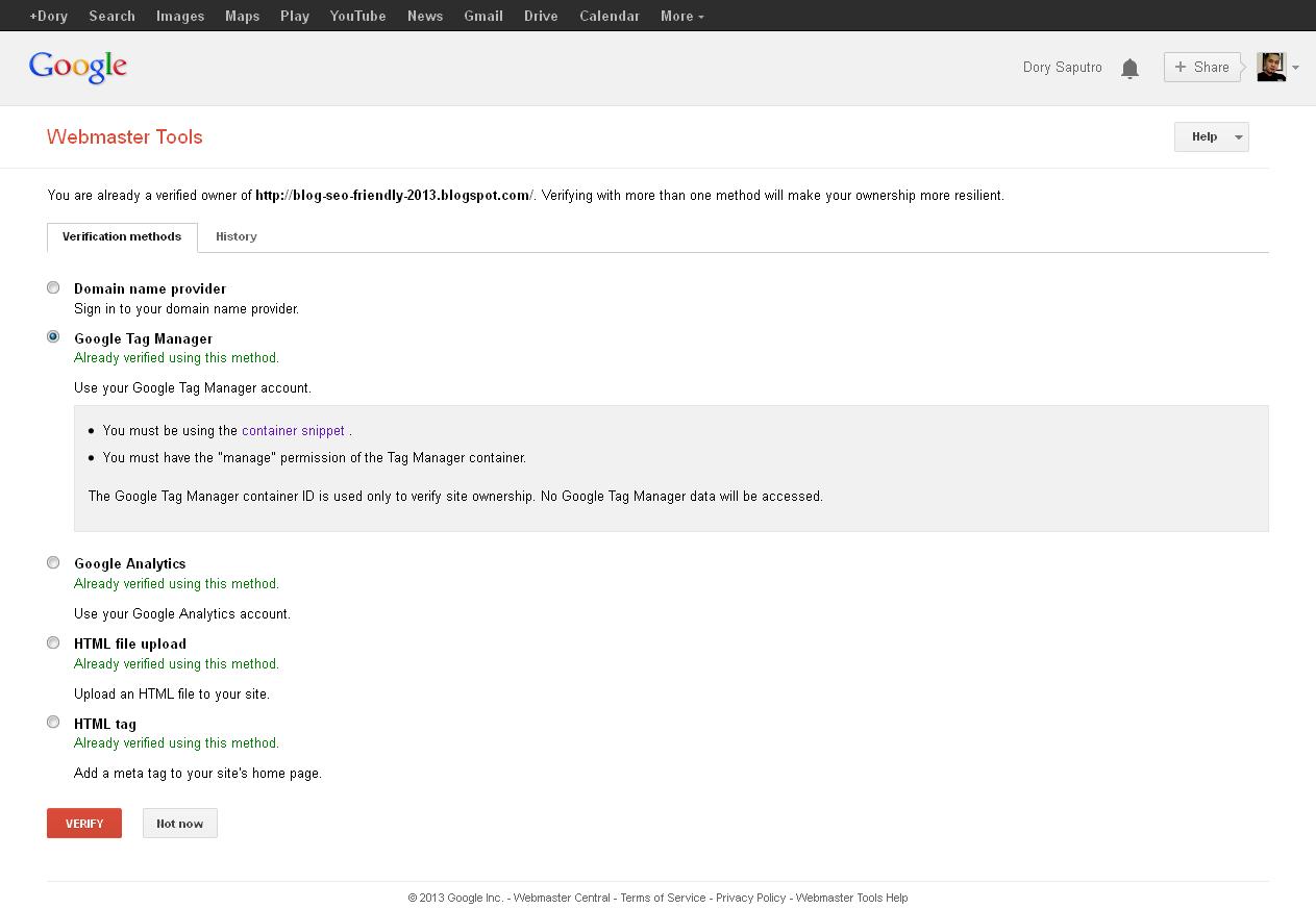 Image verifikasi blog metode google tag manager di gwt