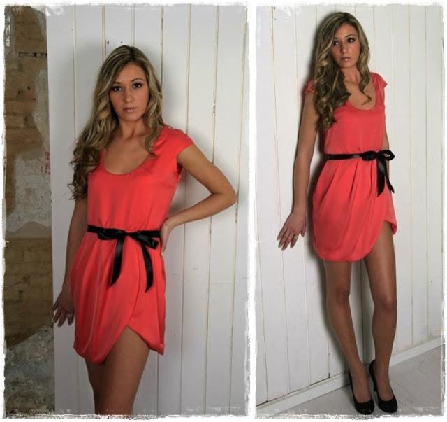 Vestido rosa con asimetria Clés