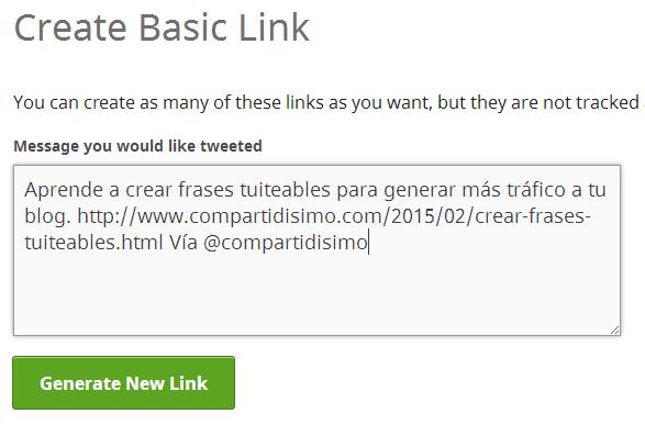 panel de creacion de enlaces de Clicktotweet