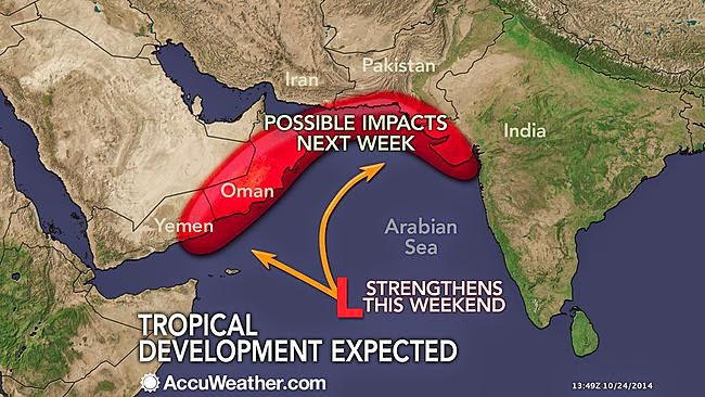 Pakistan India And Oman At Risk Due To Tropical Cyclone Nilofer - Where are cyclones weather map us
