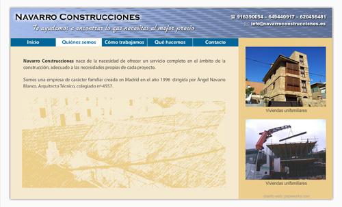 página web de Navarro Construcciones: Reformas de viviendas y locales comerciales, rehabilitación de edificios, humedades, construcciones de nueva obra, viviendas unifamiliares