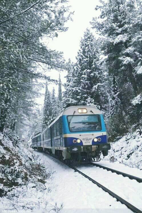 Διαδρομές με το τρένο σε χιονισμένο τοπίο