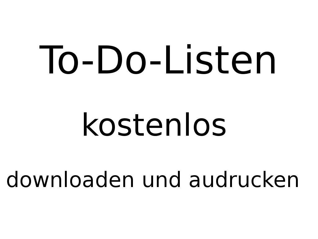 Personal Evolution: To-Do Listen Downloads ( 114 Online) Druckvorlagen