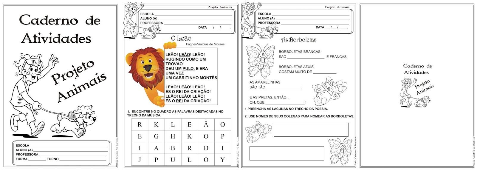 Fabuloso Caderno de Atividades Projeto Animais Poesias de Vinicius de Moraes XW76