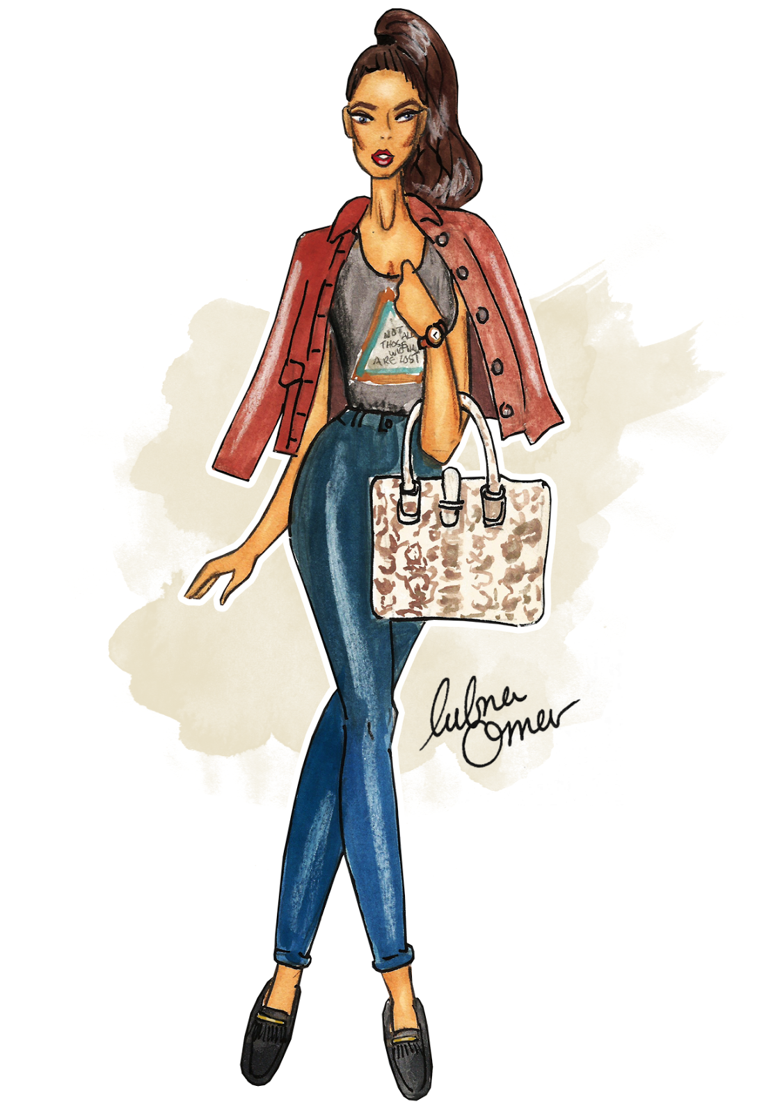 back to school outfit inspiration classics illustration by lubna omar