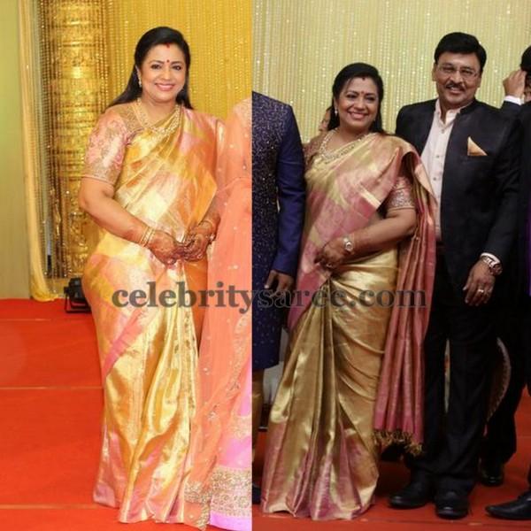 Poornima Bhagyaraj Gold Saree