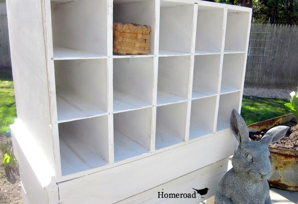 DIY cubbies created from discarded furniture pieces www.homeroad.net