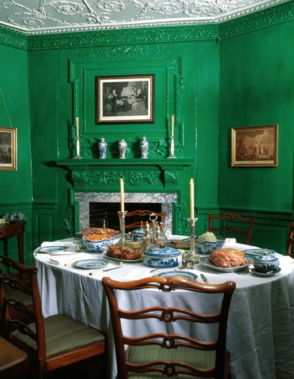 Under the gables bold colors for a courageous people for Green dining room