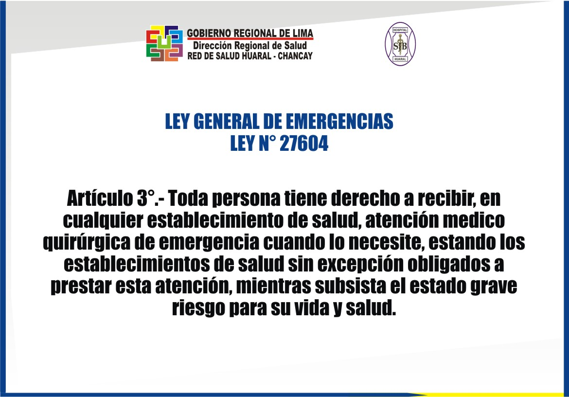 LEY GENERAL DE EMERGENCIAS N° 27604