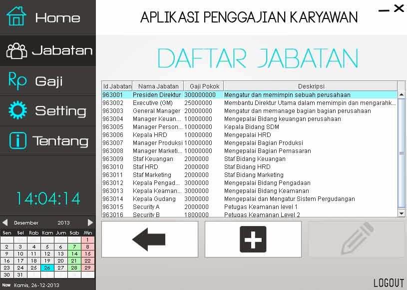 Tampilan Data Jabatan