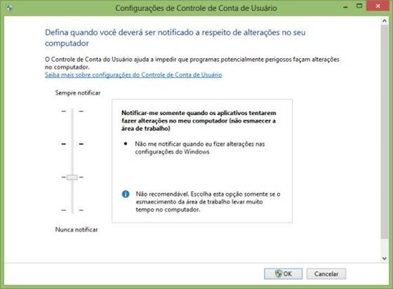 Configuração Controle de Conta de Usuário - 560x412