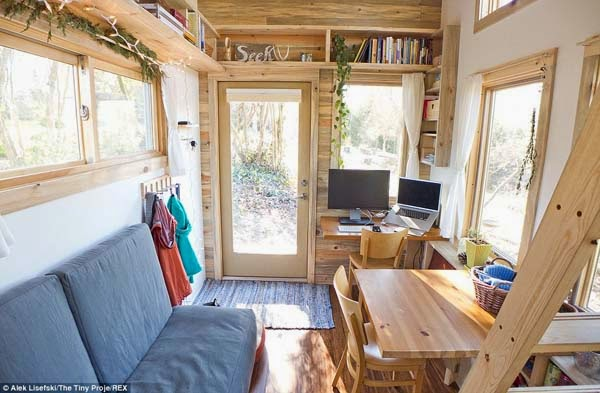 All of the natural light makes the tiny house seem bigger than it is.