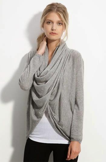Grey Drape Front Cardigan
