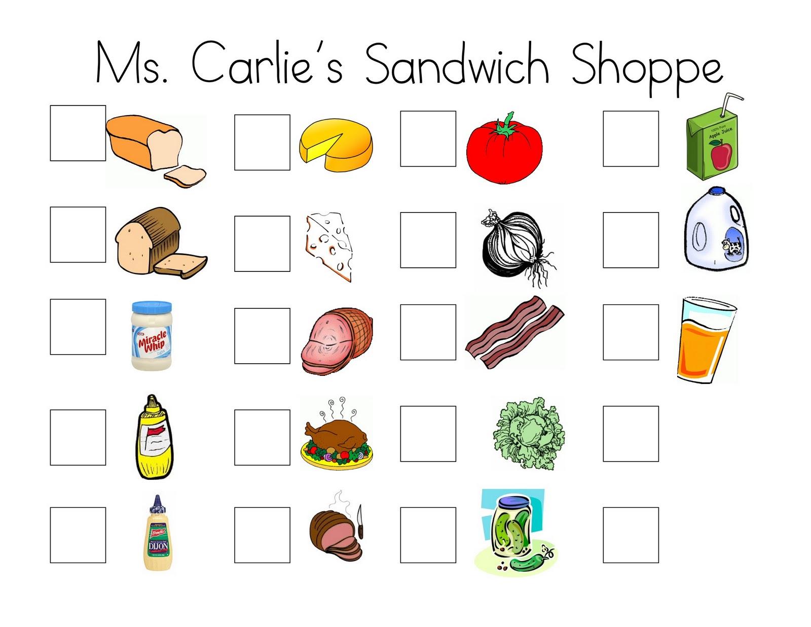 Ms. Carlie\'s Little Learners Preschool: {ms. carlie\'s sandwich shoppe}