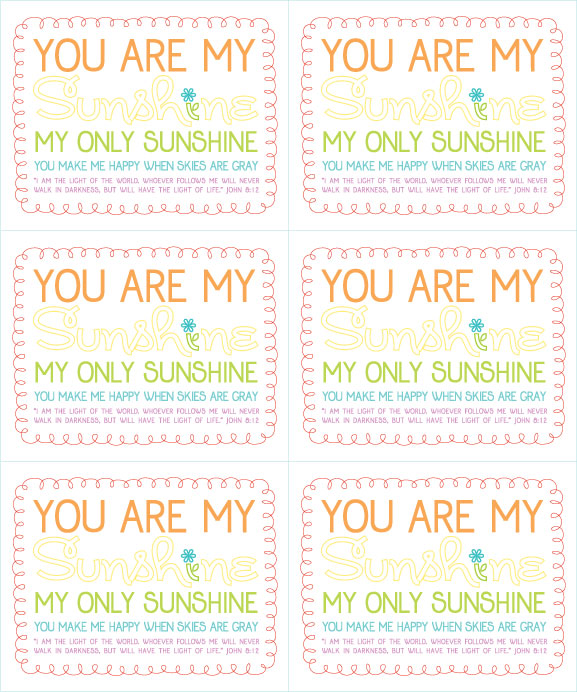 Selective image inside you are my sunshine printable