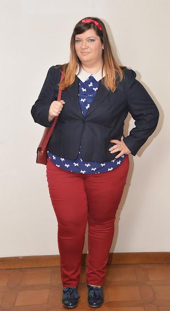 outfit plus size, curvy, taglie comode blu e bordò