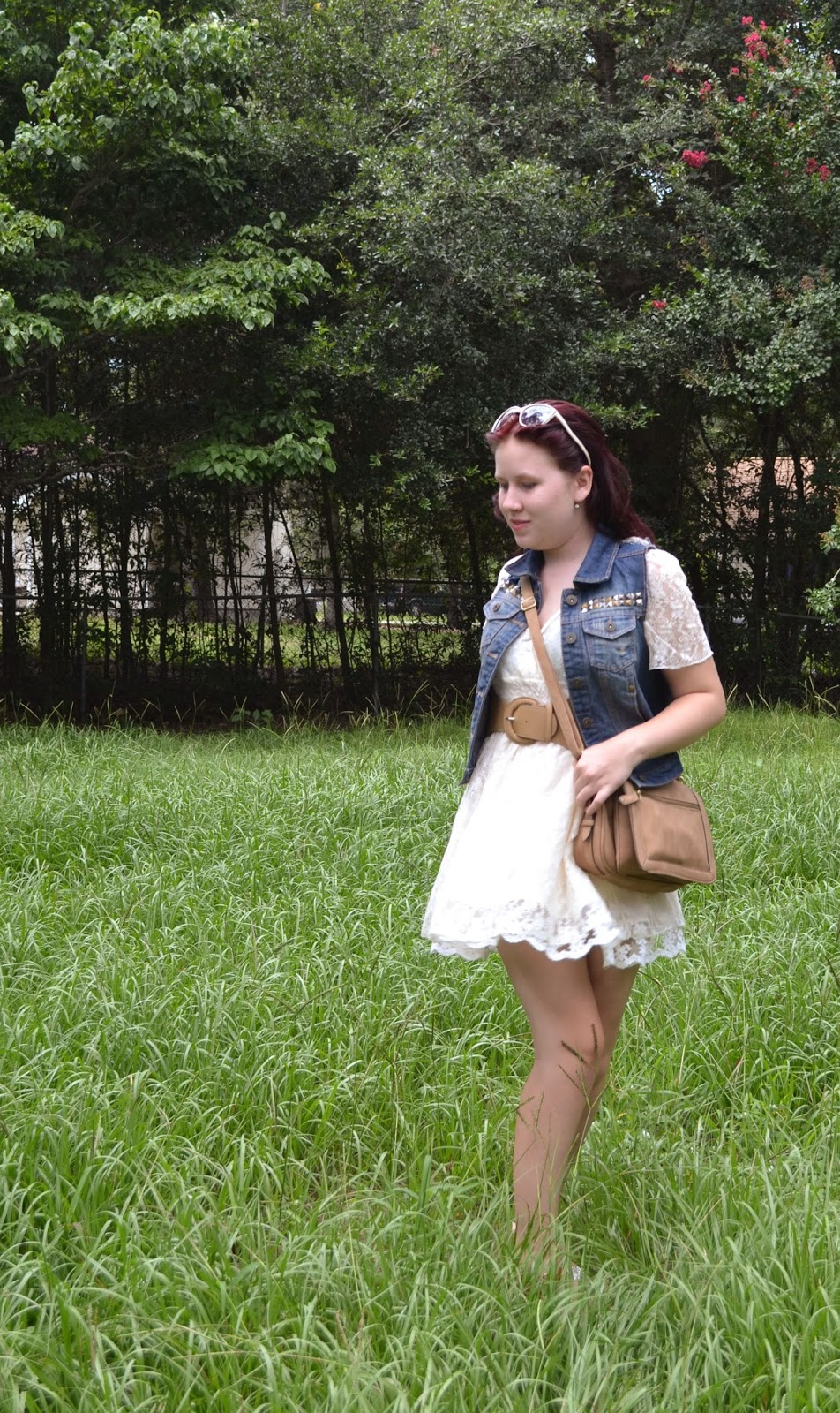 redhead, red-haired blogger, red hair, lace dress, denim vest, outfit, styling, southern blogger, outfit bllogger, personal style blogger, Gabby, A Whispered Wish, wedges